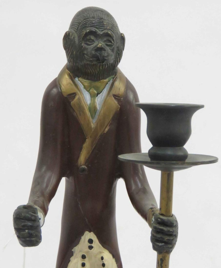 "POLYCHROME BRASS MONKEY BUTLER CANDLHOLDER. HEIGHT 17"" - 2"