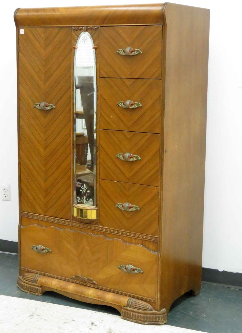 "ART DECO INLAID WALNUT WATERFALL WARDROBE. HEIGHT 65"";"
