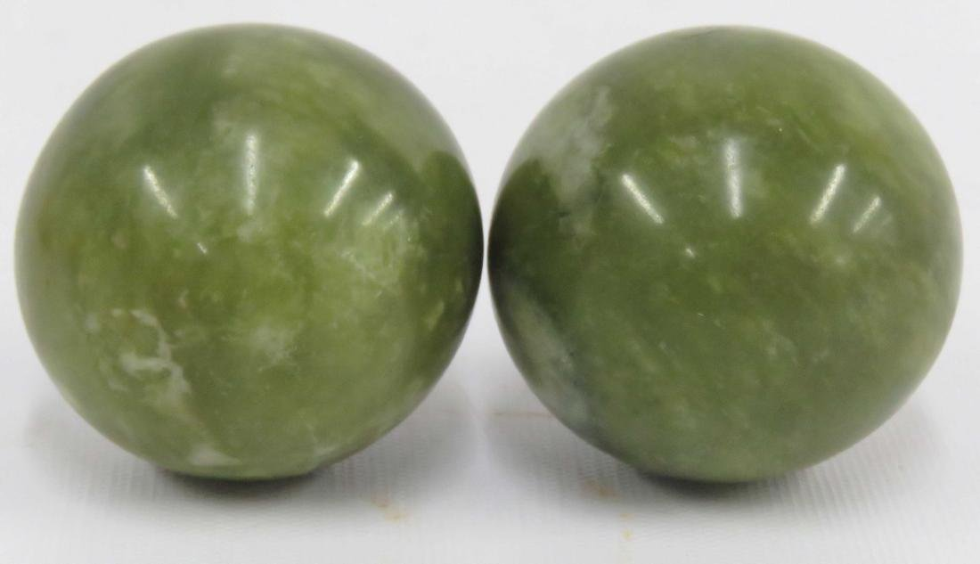 LOT (2) CHINESE CARVED HARDSTONE BALLS