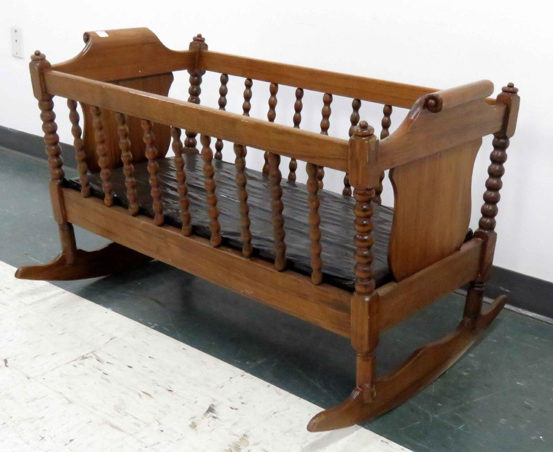 WALNUT CRADLE, 19TH CENTURY