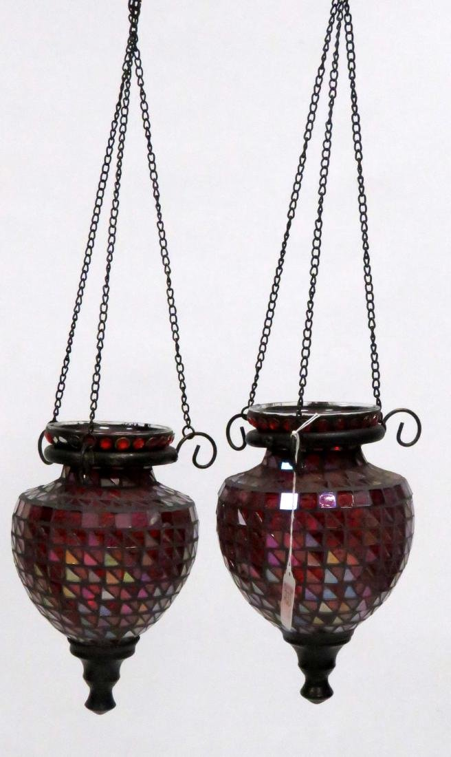 """PAIR MOSAIC GLASS HANGING LAMPS. HEIGHT 23"""""""