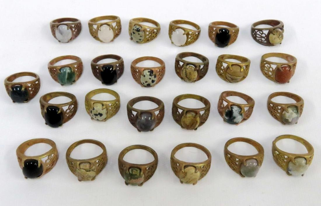 LOT (29) CHINESE METAL ALLOY AND HARDSTONE MOUNTED