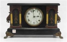 VINTAGE EBONIZED COLUMN MANTLE CLOCK HEIGHT 10 12