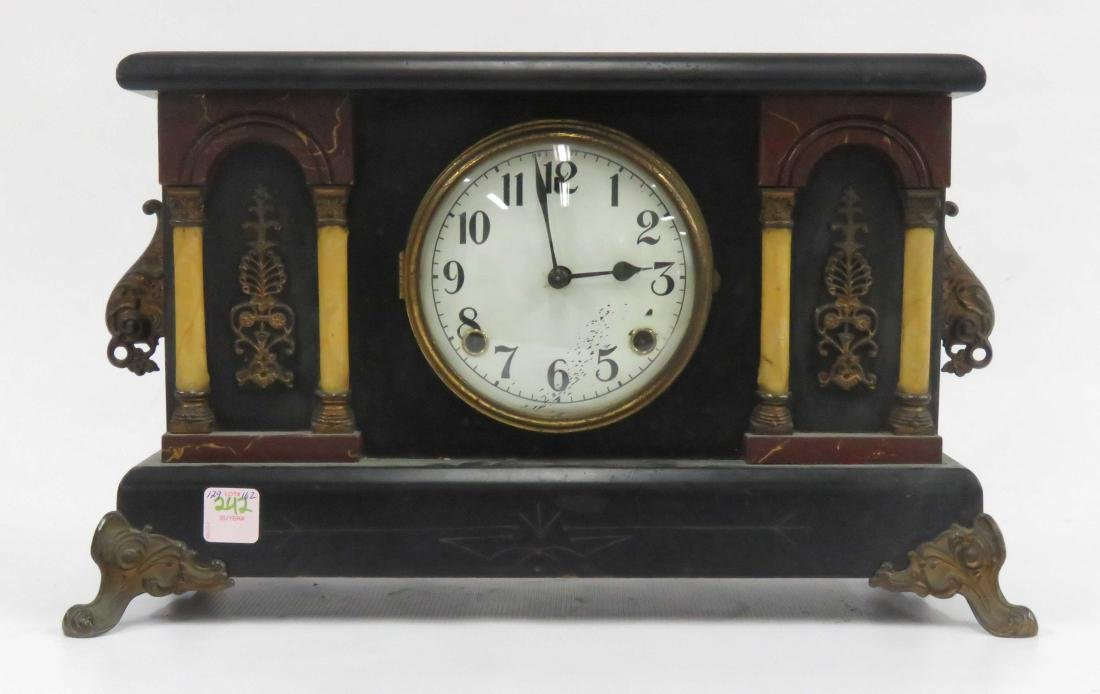"VINTAGE EBONIZED COLUMN MANTLE CLOCK. HEIGHT 10 1/2"";"