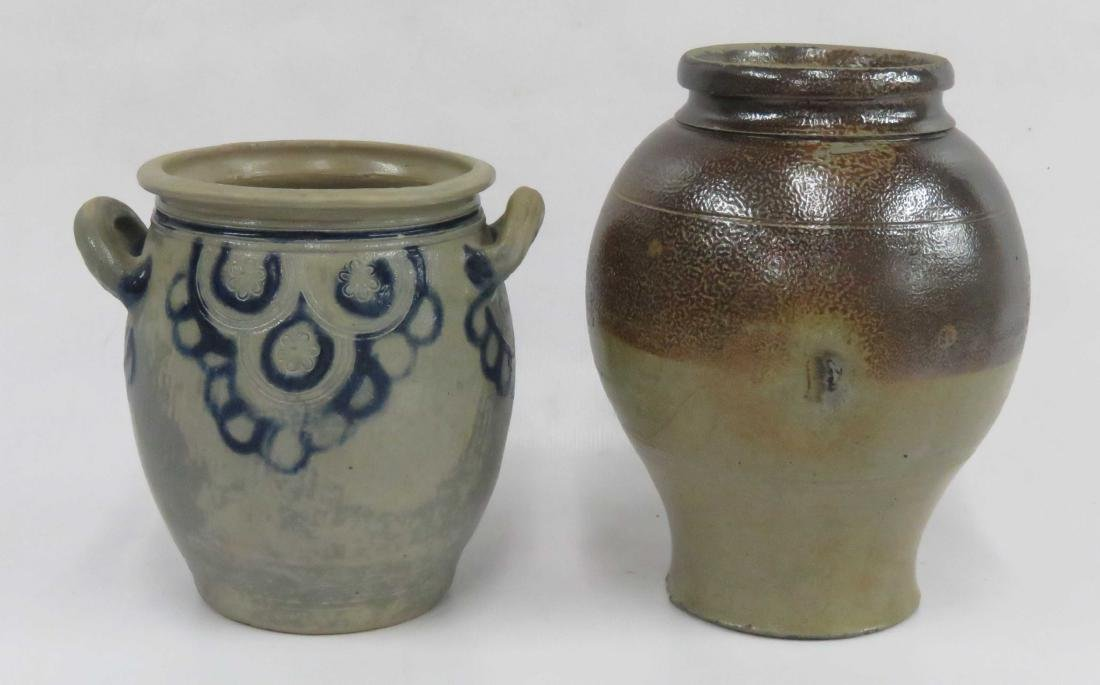 LOT (2) STONEWARE INCLUDING RHEINISH DECORATED JAR,