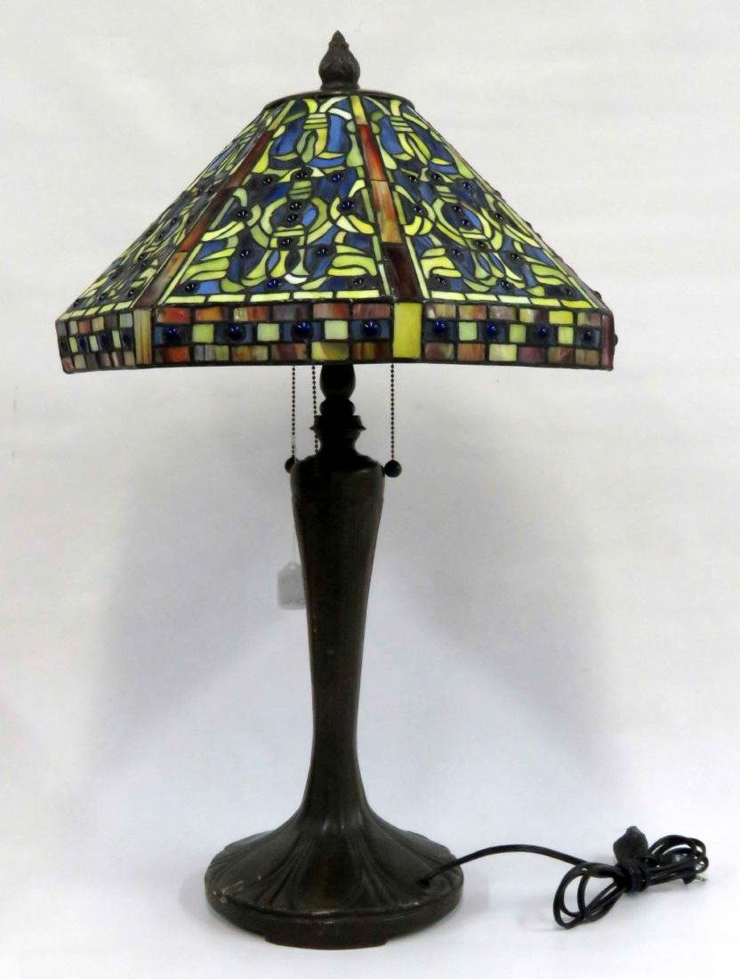 """TIFFANY STYLE LEADED GLASS TABLE LAMP. HEIGHT 30"""";"""