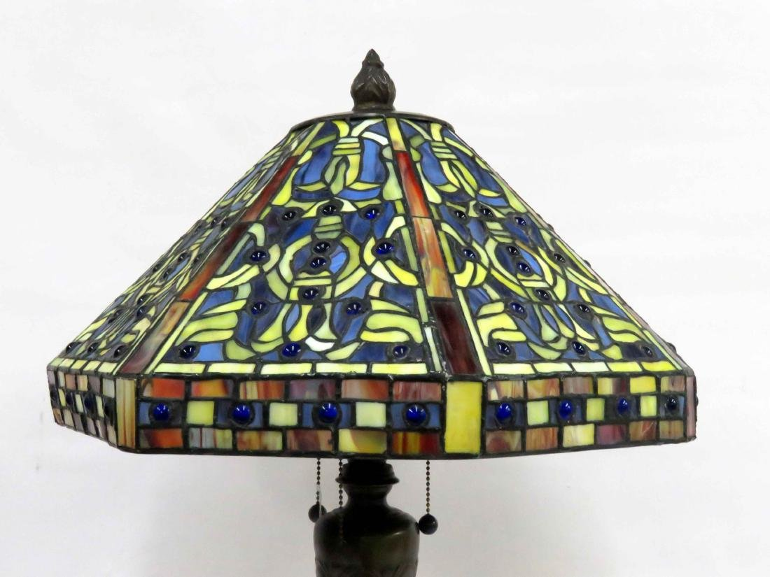 """TIFFANY STYLE LEADED GLASS TABLE LAMP. HEIGHT 30""""; - 2"""