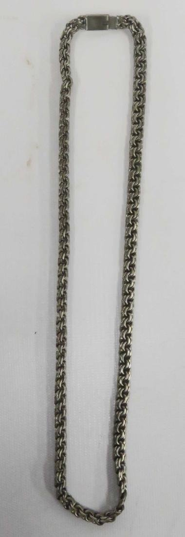 "STERLING DOUBLE-CHAIN LINK NECKLACE. LENGTH 22""; 1.91"