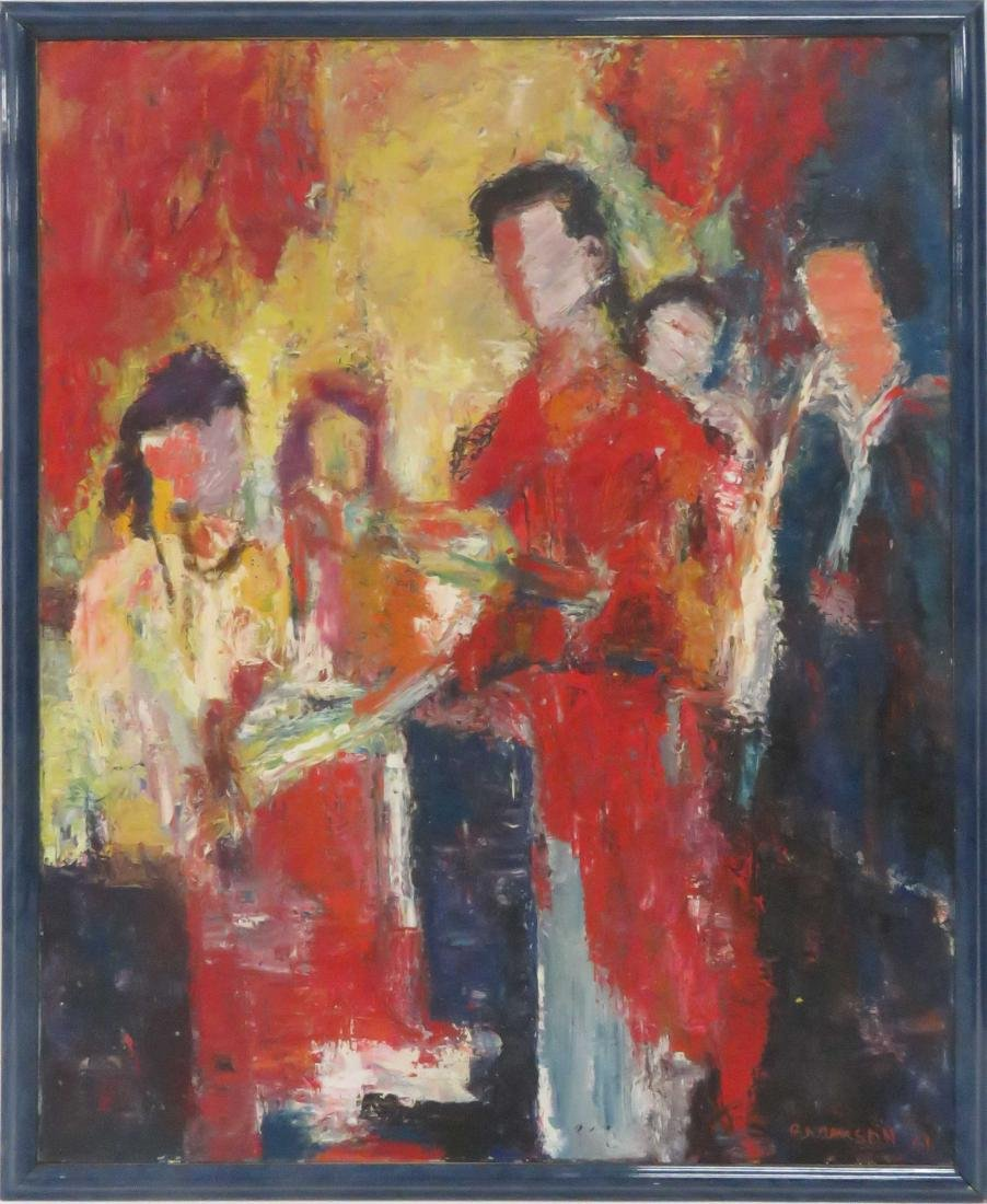 AMERICAN SCHOOL (20TH CENTURY), OIL ON CANVAS, FIGURES,
