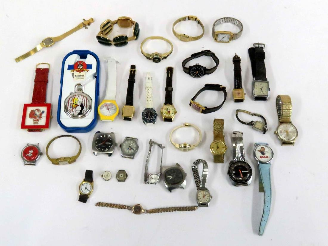 LOT ASSORTED WRISTWATCHES INCLUDING CHARACTER'S,