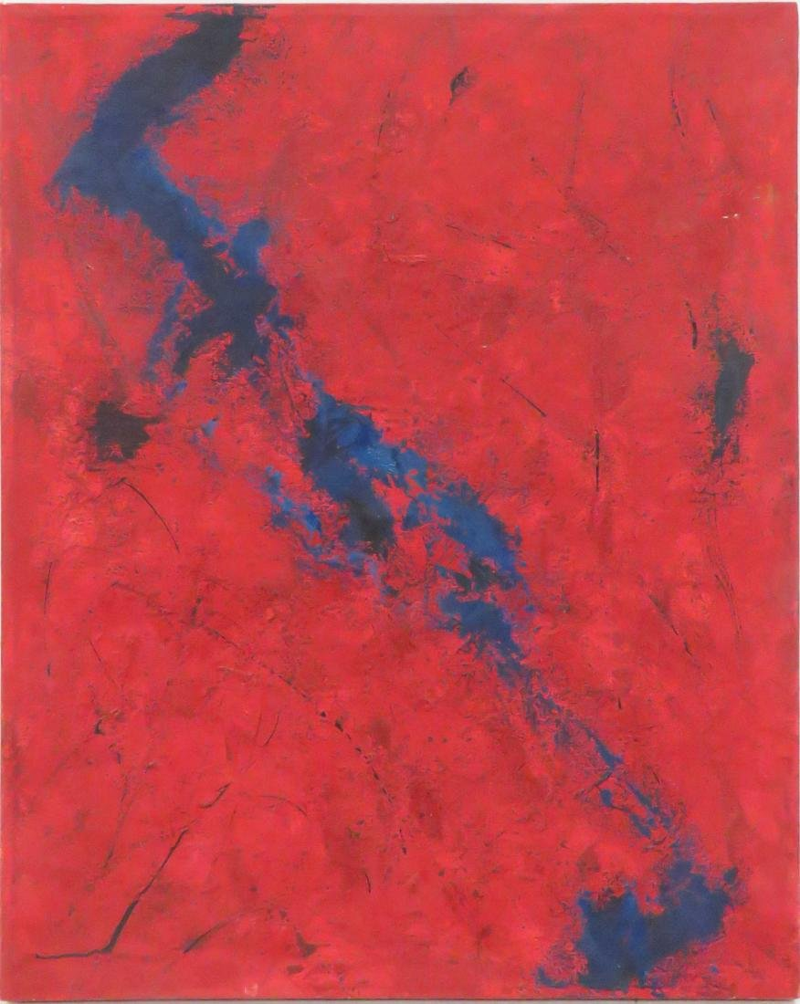 "MARY BEL (SPANISH 20TH CENTURY), OIL ON CANVAS, ""ROJO Y"
