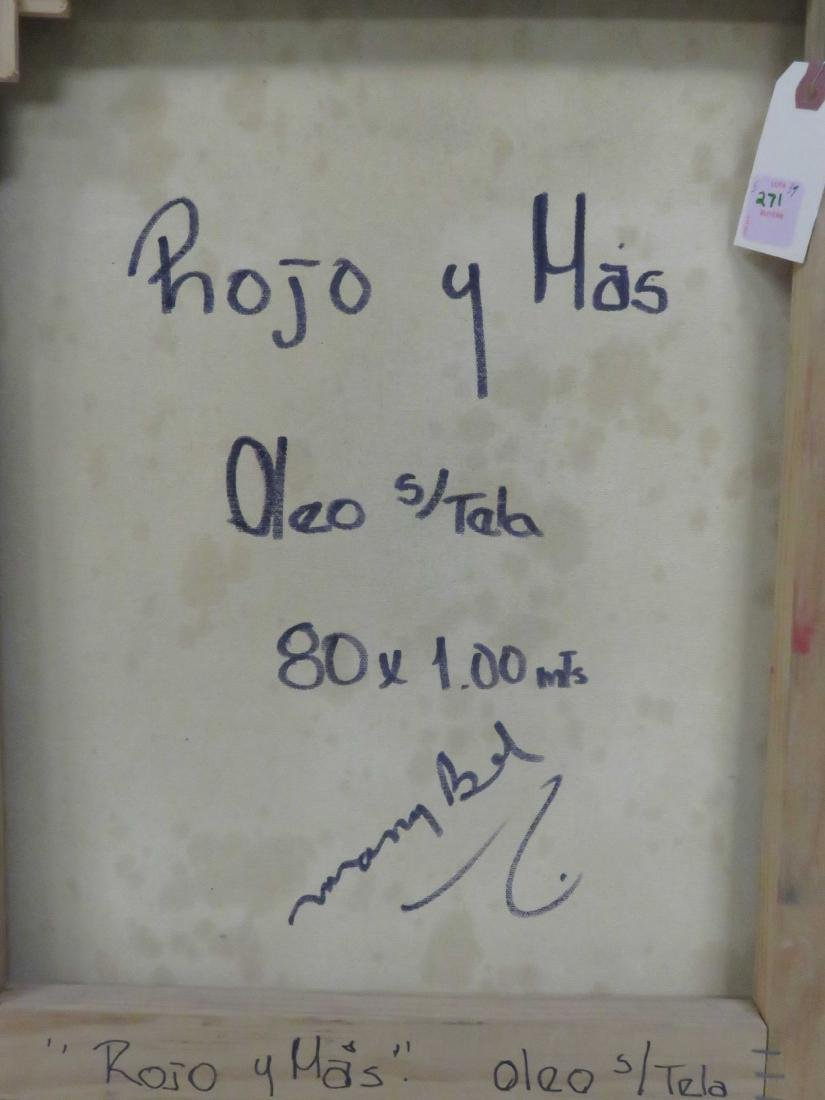 "MARY BEL (SPANISH 20TH CENTURY), OIL ON CANVAS, ""ROJO Y - 3"