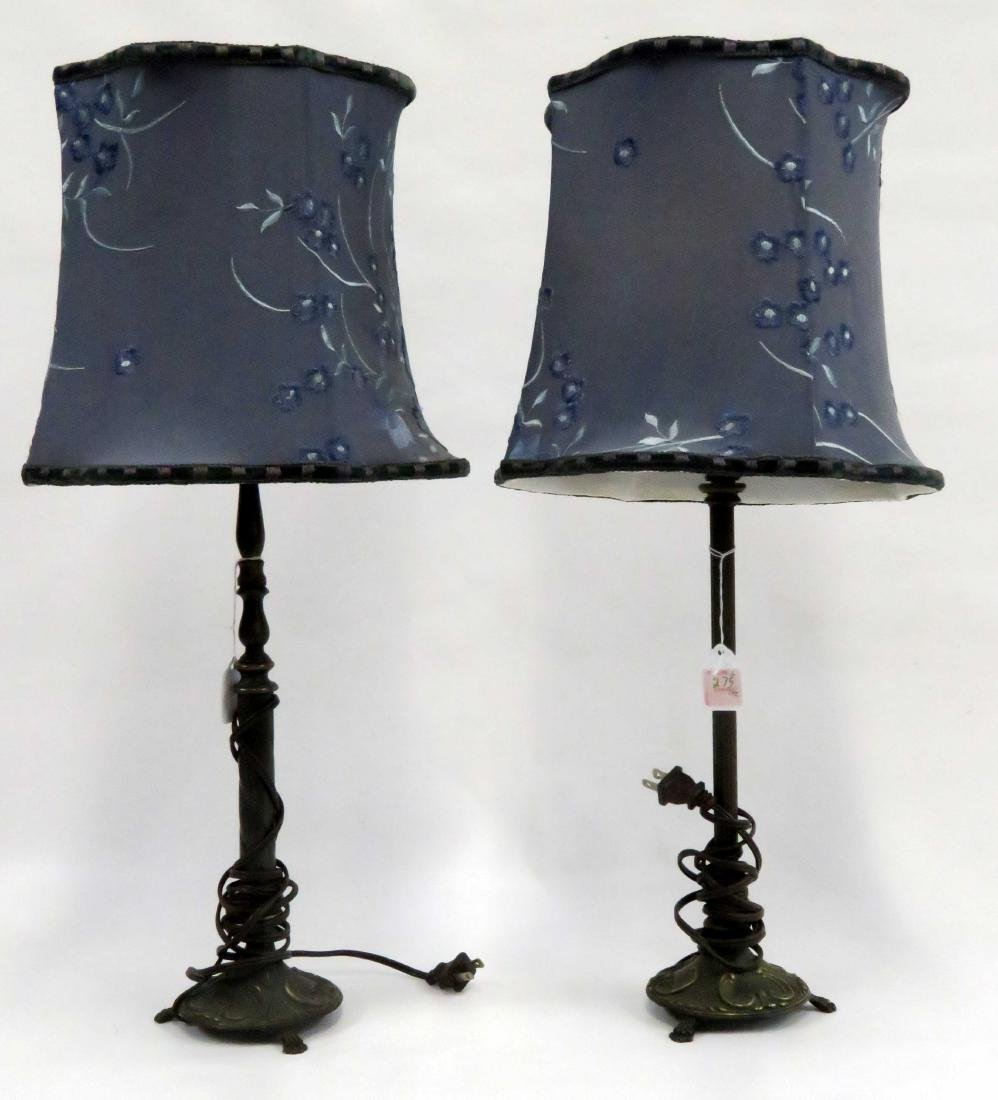 PAIR PATINATED METAL BOUDOIR LAMPS WITH BLUE