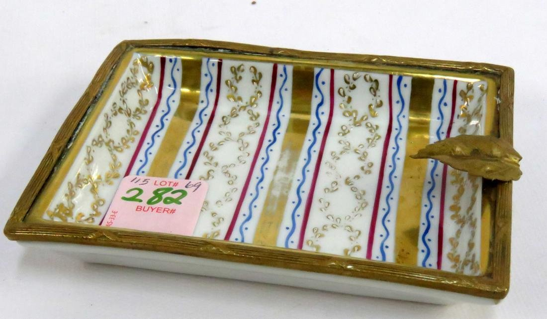FRENCH GILT AND BRONZE MOUNTED ASH TRAY, MADE FOR GALLE