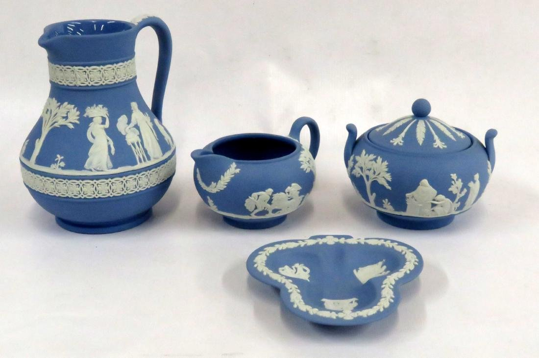 LOT (4) ASSORTED WEDGWOOD JASPERWARE INCLUDING PITCHER,