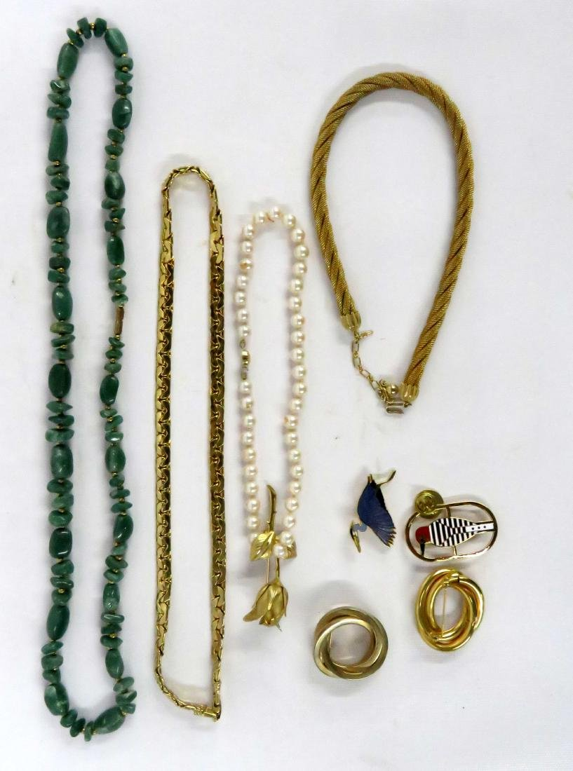 ASSORTED LOT COSTUME JEWELRY INCLUDING HARDSTONE