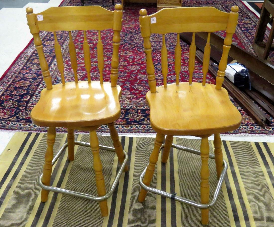 PAIR VINTAGE SWIVEL PINE SEAT BAR STOOLS