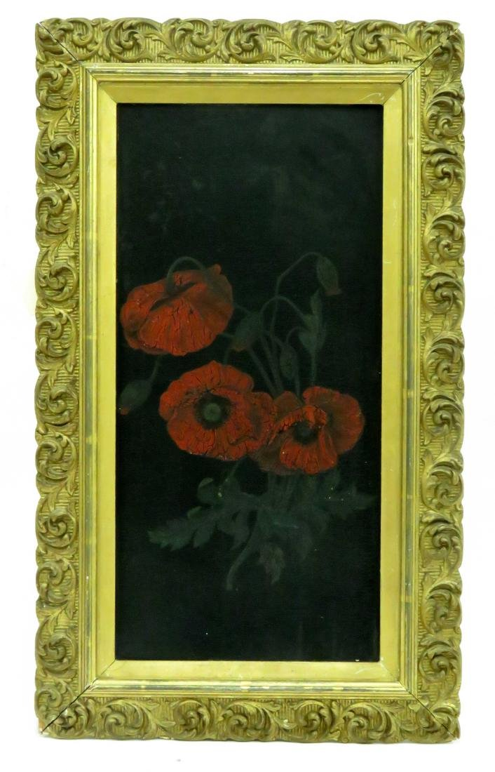 AMERICAN SCHOOL (19TH CENTURY), OIL ON BOARD, POPPIES,