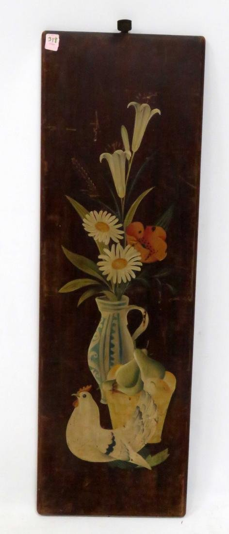 FOLK ART PAINTED PINE PANEL WITH FLOWERS AND CHICKEN