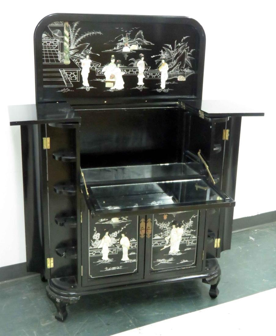 "CHINESE MOTHER-OF-PEARL MOUNTED BAR CABINET. HEIGHT 41""; - 2"