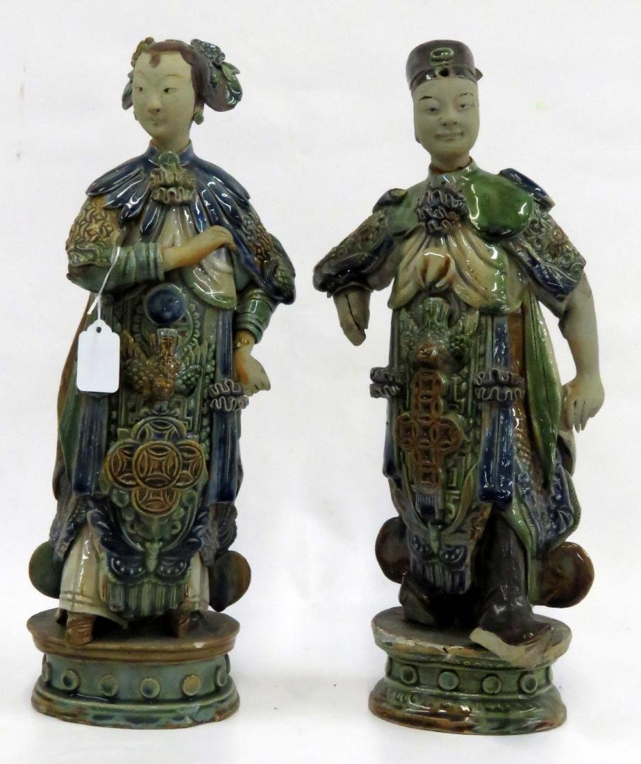 PAIR CHINESE GLAZED STONEWARE MANDARIN FIGURES. HEIGHT