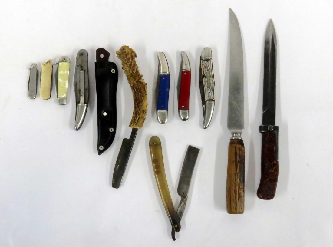LOT (12) KNIVES INCLUDING BAYONETTE, JIM PARKER,