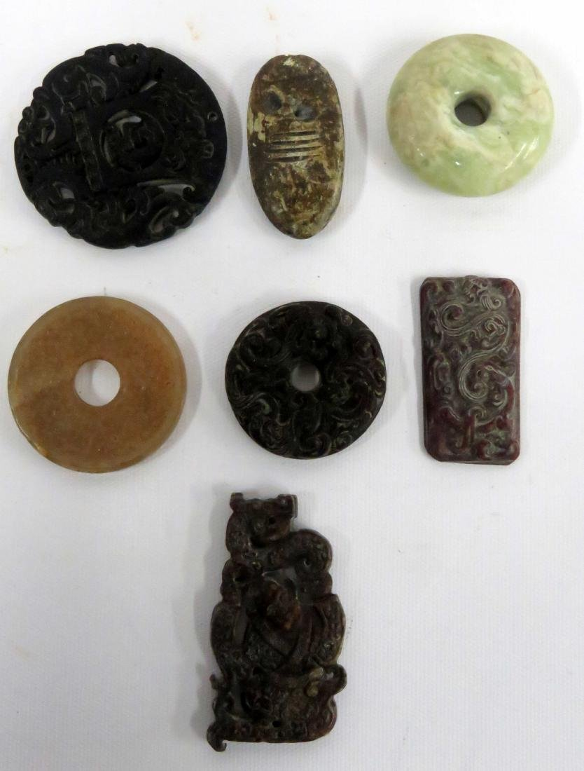 LOT (7) CHINESE CARVED HARDSTONE TOGGLES/BI DISCS