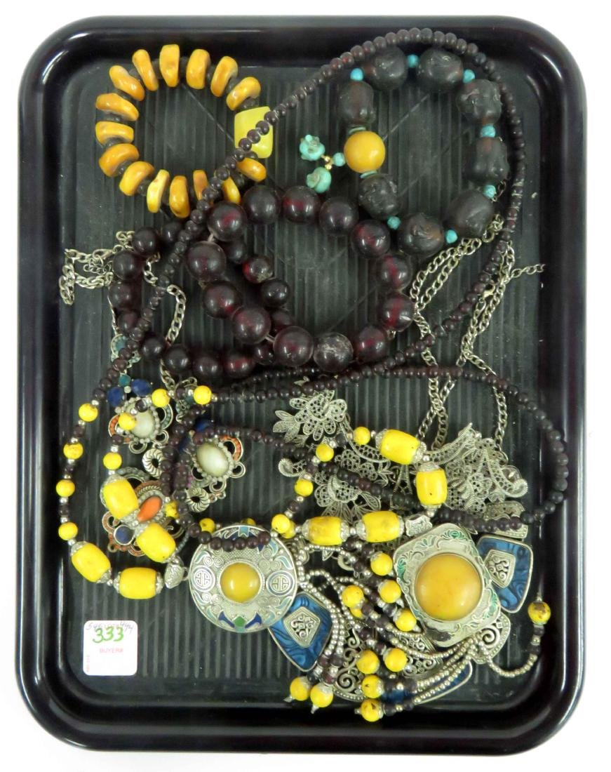 LOT ASSORTED ETHNIC DESIGN NECKLACES AND BRACELETS