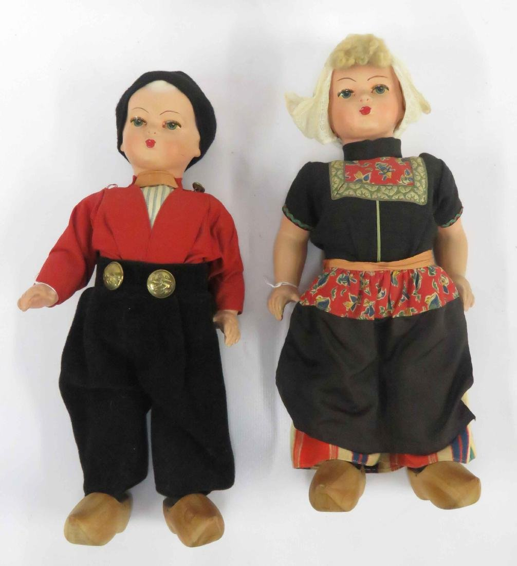 PAIR VINTAGE DUTCH BOY AND GIRL DOLLS