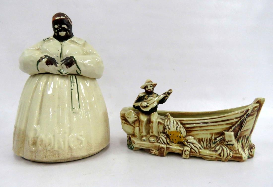 LOT (2) BLACK AMERICANA MCCOY POTTERY INCLUDING MAMMY