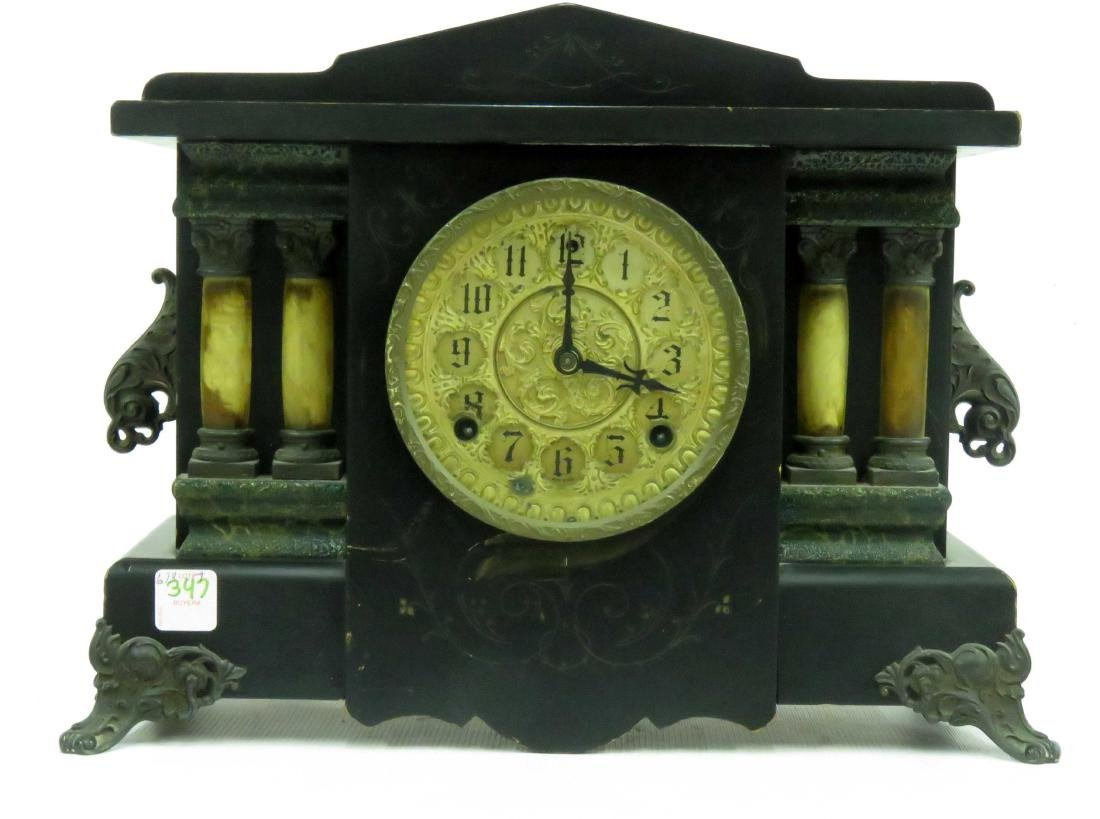 VINTAGE SESSIONS EBONIZED COLUMN MANTLE CLOCK. HEIGHT