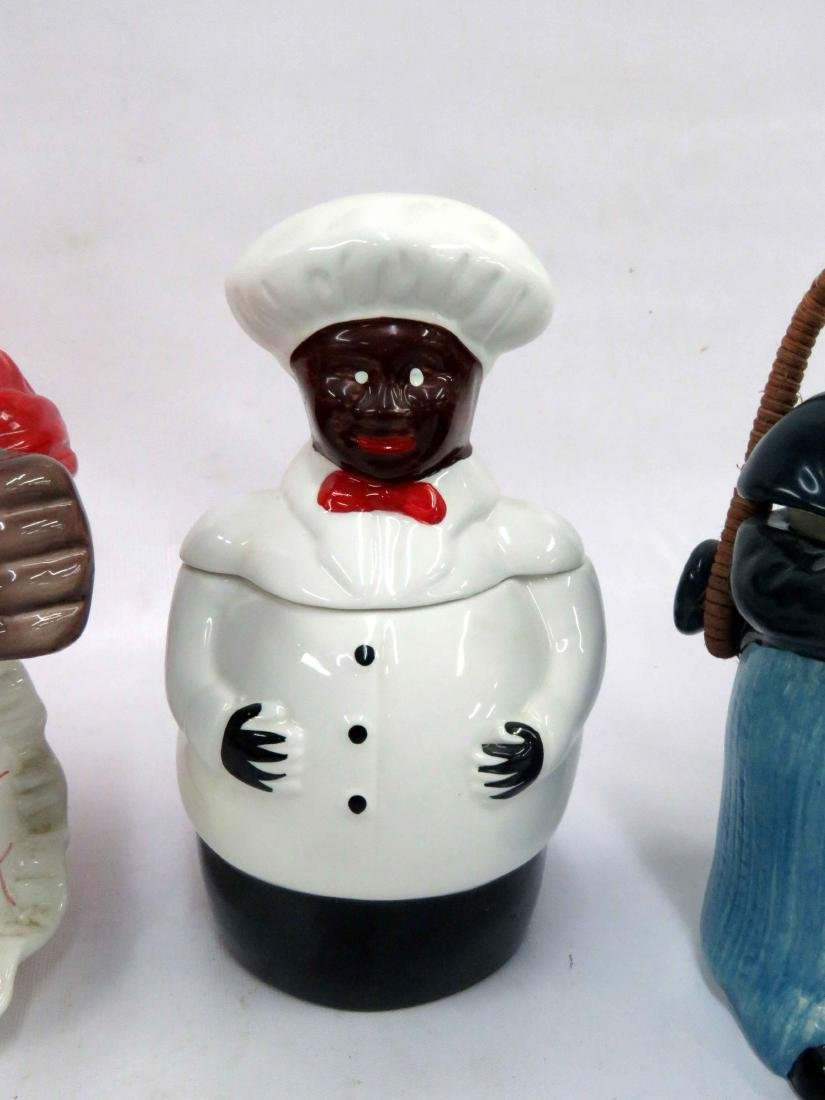 LOT (3) BLACK AMERICANA DECORATED POTTERY COOKIE JARS. - 3