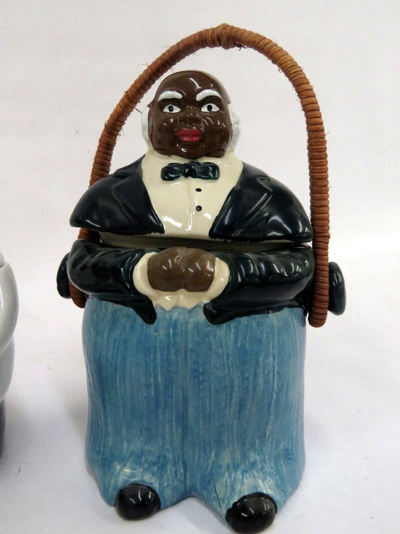 LOT (3) BLACK AMERICANA DECORATED POTTERY COOKIE JARS. - 4