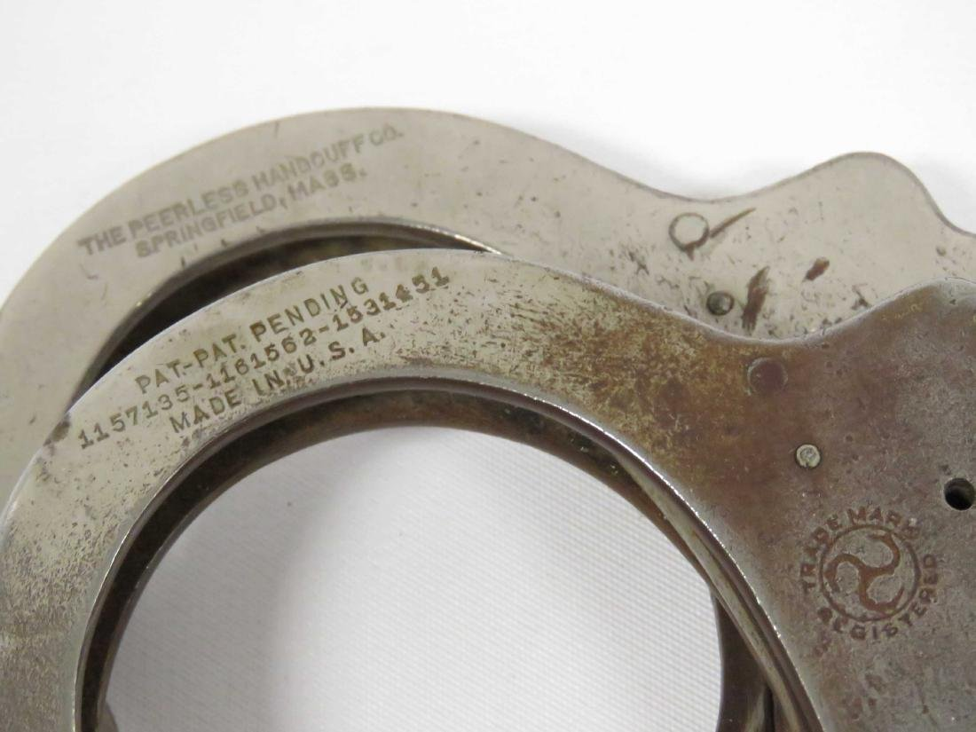 LOT (2) INCLUDING PAIR VINTAGE PEERLESS HANDCUFFS WITH - 3