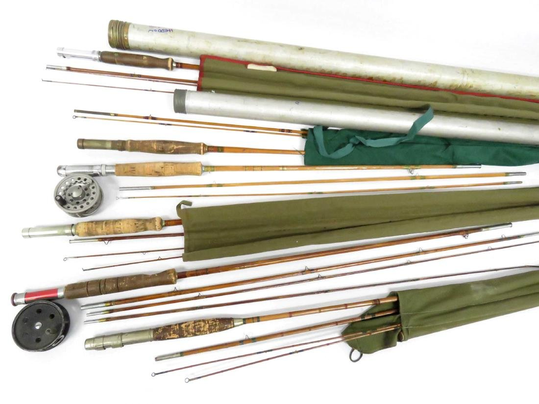 LOT (6) ASSORTED SPLIT BAMBOO RODS, CASED INCLUDING 12'