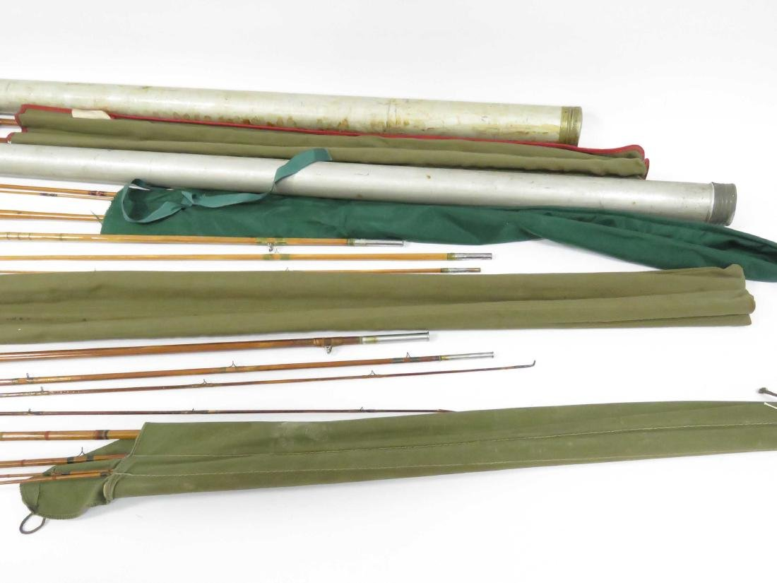 LOT (6) ASSORTED SPLIT BAMBOO RODS, CASED INCLUDING 12' - 2