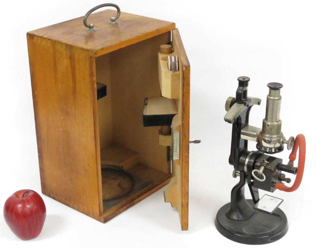 VINTAGE CARL ZEISS, JENA MONOCULAR MICROSCOPE WITH CASE