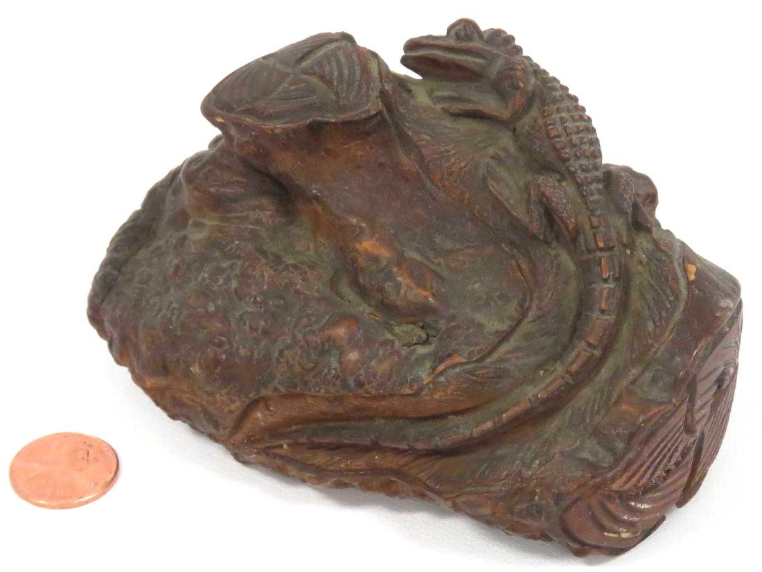 "FOLK ART CARVED BURL FIGURE OF AN ALLIGATOR. HEIGHT 3"";"