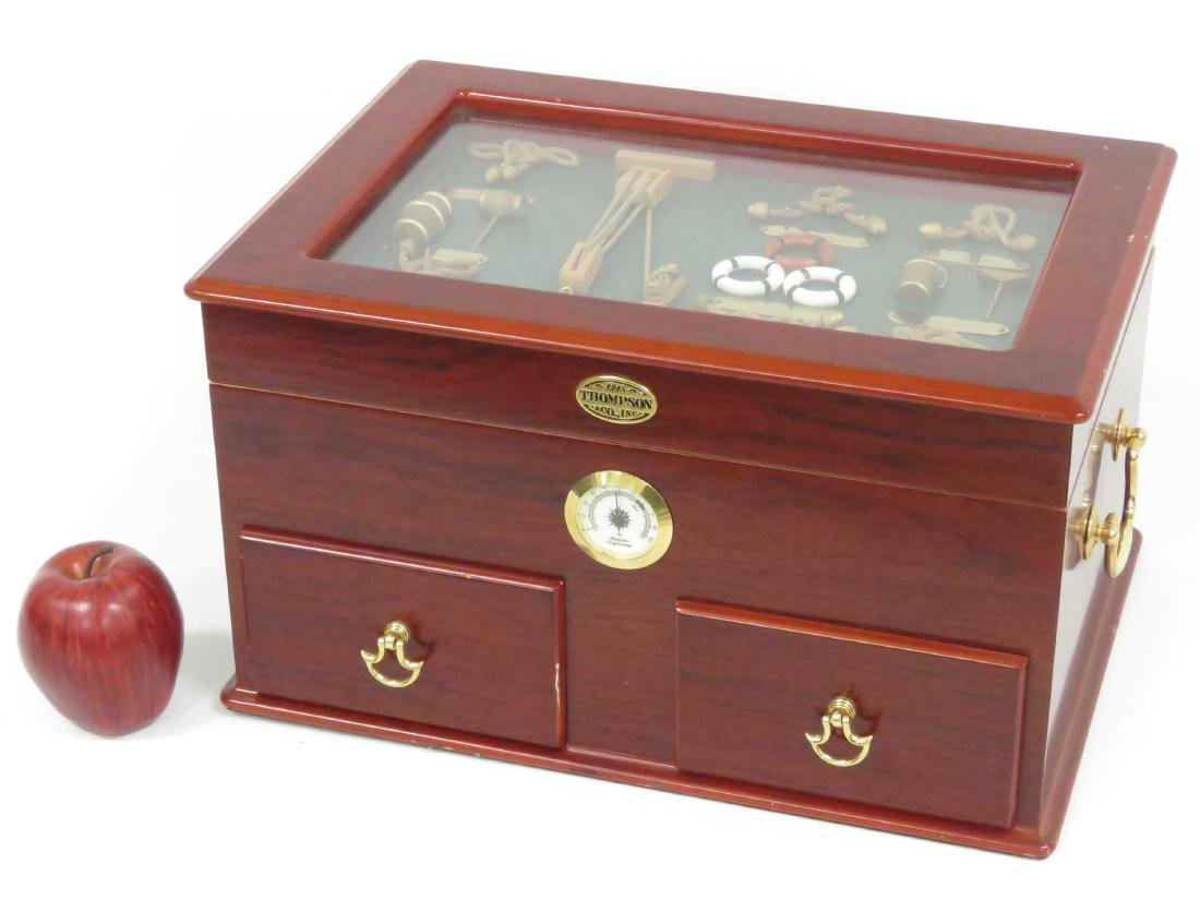 2-DRAWER HUMIDOR WITH NAUTICAL THEMED DISPLAY, THOMPSON