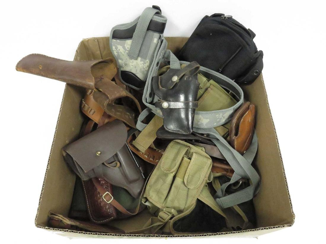 BOX LOT ASSORTED PISTOL CASES, CARTRIDGE BELTS &