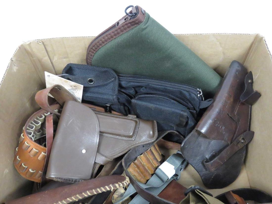 BOX LOT ASSORTED PISTOL CASES, CARTRIDGE BELTS & - 2
