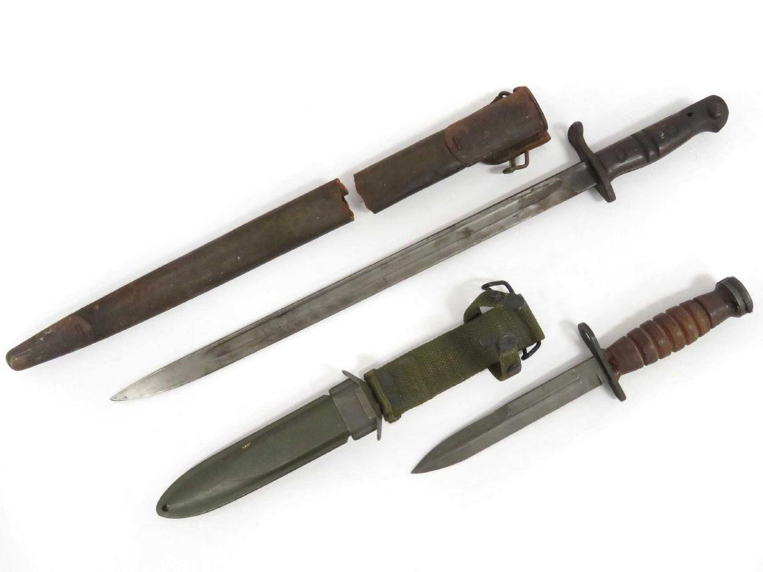 LOT (2) VINTAGE US BAYONETS/SCABBARDS INCLUDING US