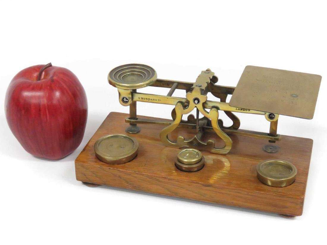 VINTAGE BRASS/OAK POSTAL SCALE WITH WEIGHTS, SIGNED S.