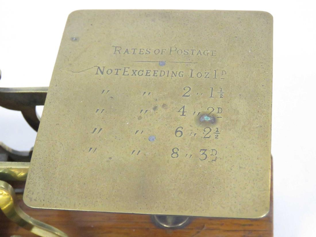 VINTAGE BRASS/OAK POSTAL SCALE WITH WEIGHTS, SIGNED S. - 2