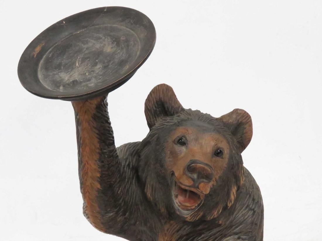 "HAND CARVED BEAR WITH CARD TRAY. HEIGHT 28"" - 2"