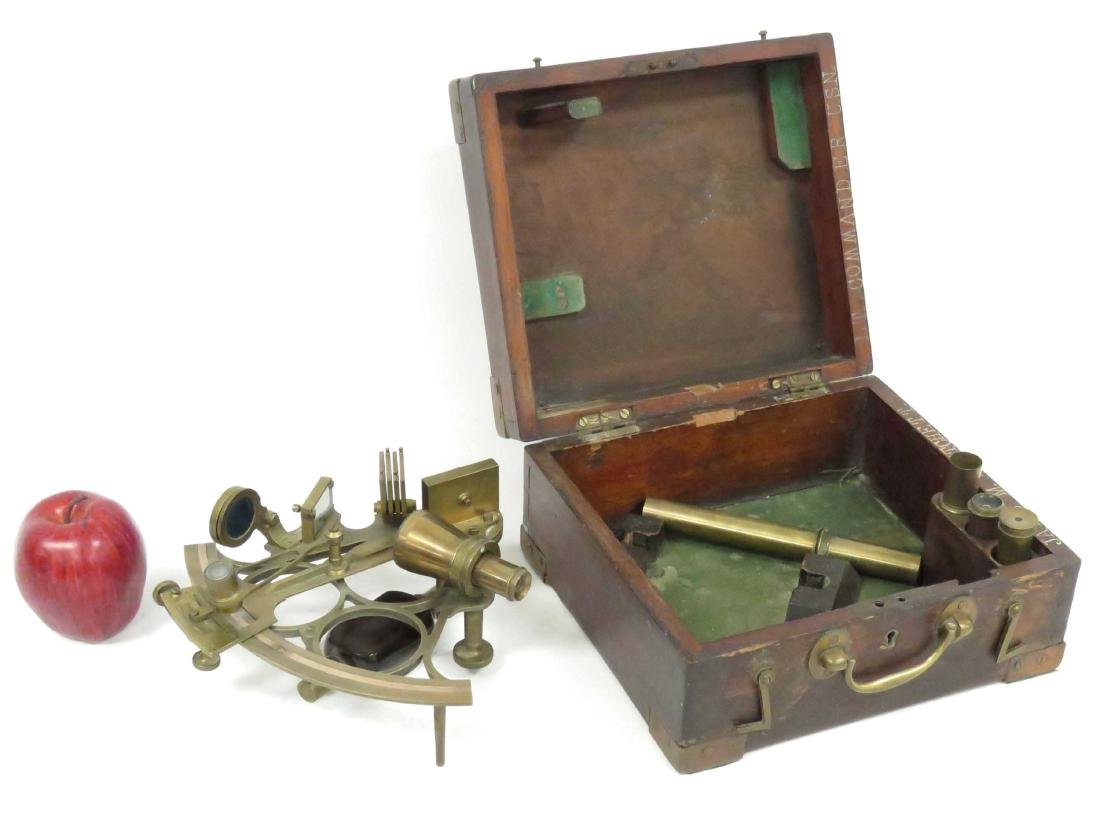 J. PARKES AND SONS BRASS SEXTANT, 20TH CENTURY (CASED)