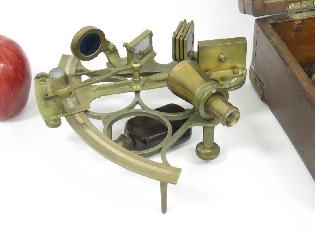J. PARKES AND SONS BRASS SEXTANT, 20TH CENTURY (CASED) - 2