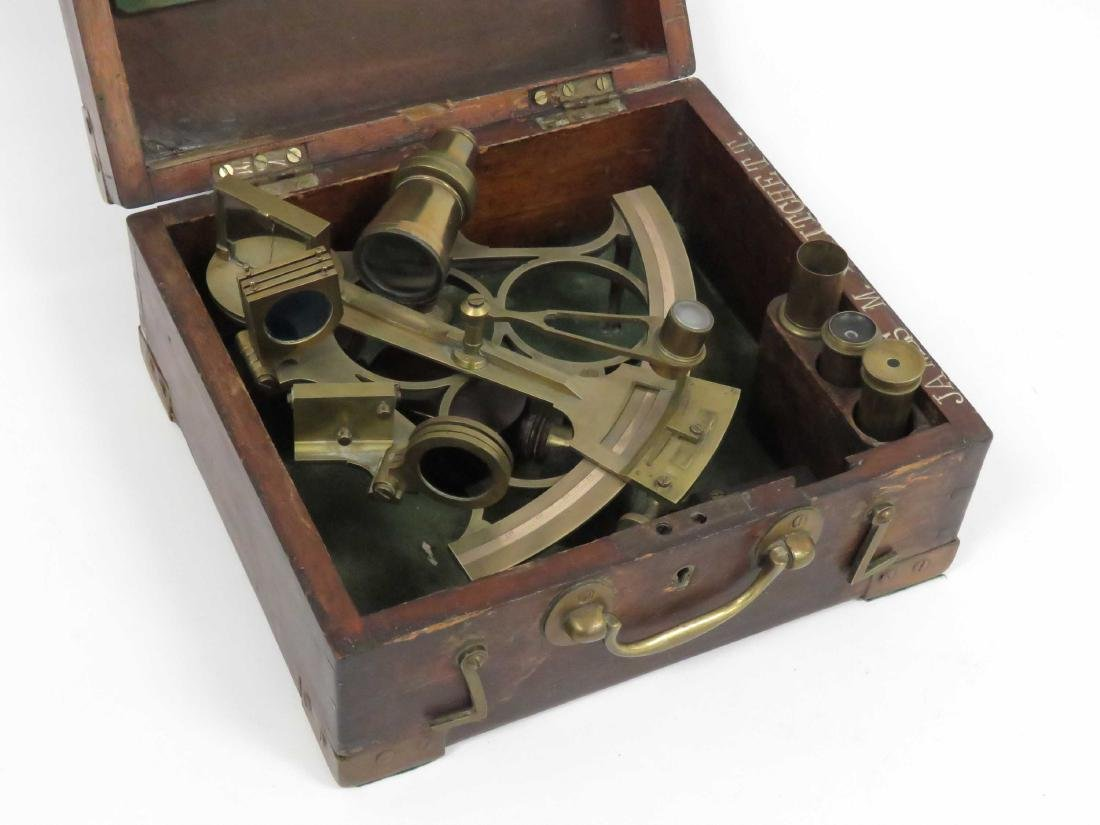 J. PARKES AND SONS BRASS SEXTANT, 20TH CENTURY (CASED) - 3
