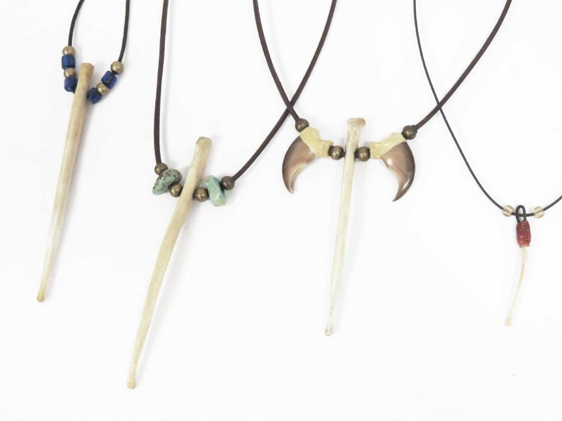 LOT (4) BEAR BACULUM (PENIS) BONE NECKLACES - 2