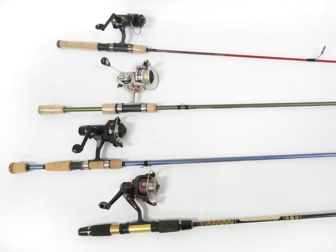 LOT (4) GRAPHITE SPINNING RODS/REELS INCLUDING 5'